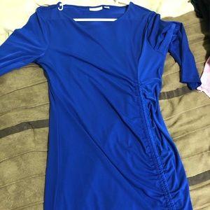 Long sleeve slinky blue dress